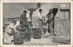 Army Recruits Drawing Their First Supplies, On Arrival at Camp