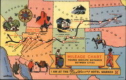 Mileage Chart: Fred Harvey Hotels Postcard
