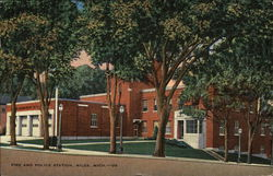 Fire and Police Station Postcard