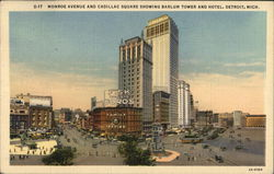 Monroe Avenue and Cadillac Square Showing Barlum Tower and Hotel