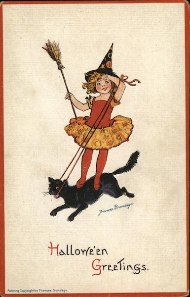 Little Witch Riding a Black Cat Frances Brundage Halloween