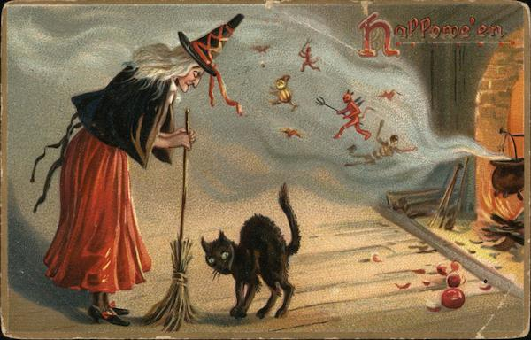 Halloween Witch with Broom and Black Cat