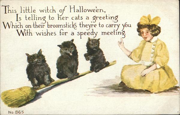 Little Witch with Broomstick and Three Black Cats Halloween