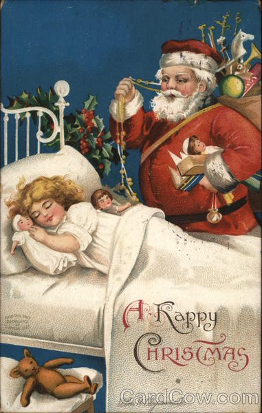 A Happy Christmas, Santa Standing Over Sleeping Child