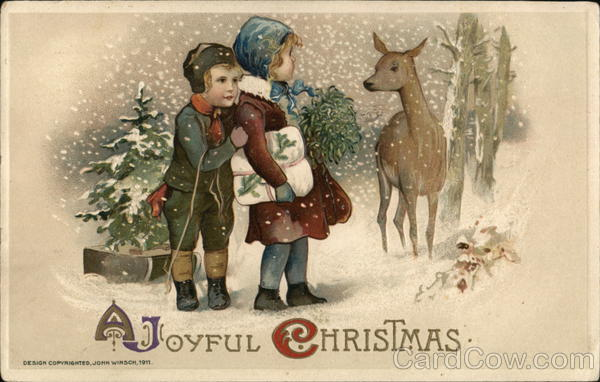 A Joyful Christmas - Two Children Looking at a Deer