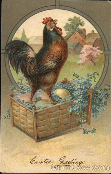 Rooster Standing in Basket of Colored Eggs