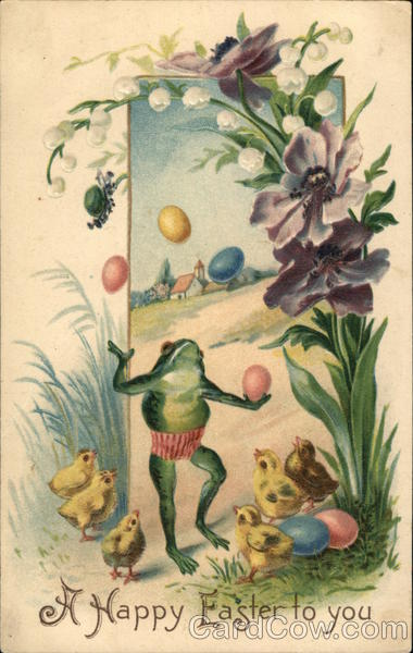 Frog Juggling Easter Eggs Flowers