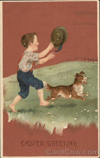 Boy with Hat and Dog With Children