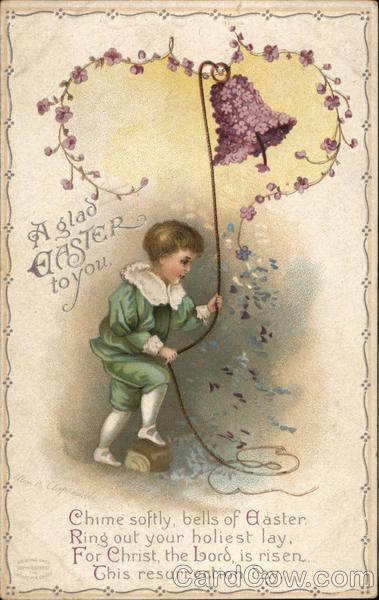 A Glad Easter to You.- Child Ringing Flower Covered Bell