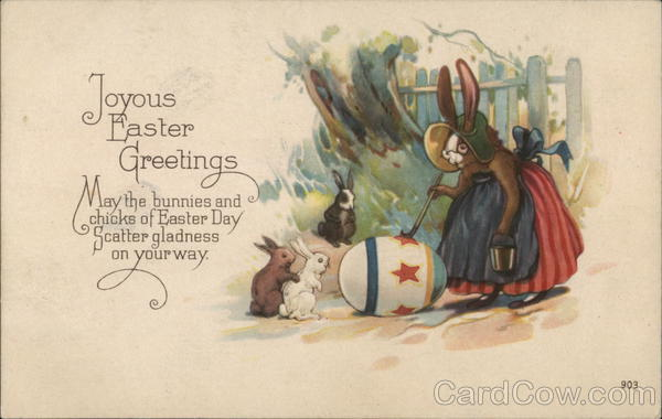 Joyous Easter Greetings - Mama Bunny Painting Egg With Bunnies