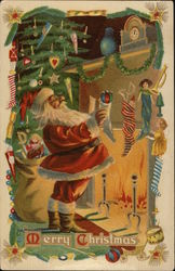 Merry Christmas: Santa Holding a Stocking