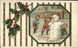 Christmas Greetings - Children Throwing Snowballs with Snowman