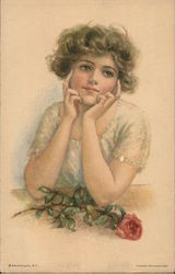 Vintage Young Woman in Lace with Red Rose