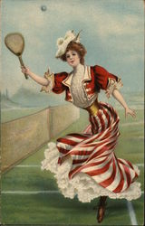 Lady In Red Plays Tennis