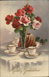 Table with Coffee Mugs and Flowers