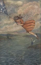 Peter Pan, The Kite Carries Wendy To The Shore Postcard