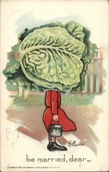 Woman in Red Dress with Large Lettuce as Head