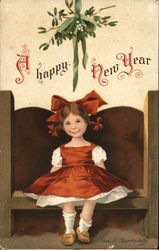 Little Girl with Red Bow Sitting on Bench Under Mistletoe