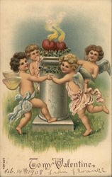 Cupids dancing around a column with hearts.