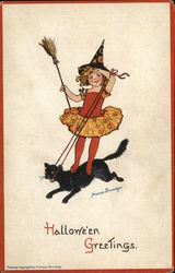 Little Witch Riding a Black Cat