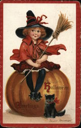 Halloween Greetings - Black Cat with Girl Sitting atop Pumpkin
