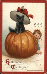 Halloween Greetings. Pumpkin with Black Cat Sitting on Top