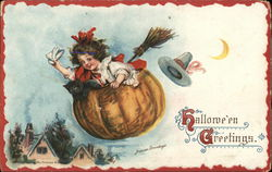 Child Flying in a Pumpkin - Halloween Greetings.