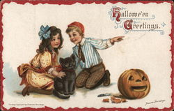 Boy and Girl with Black Cat and Jack-O-Lantern