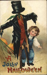 A Jolly Halloween - Child Peeking from behind Scarecrow