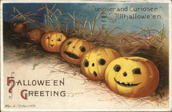 Halloween Greeting, Jack O' Lanterns in a Row