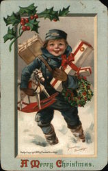 A Merry Christmas - Child Carrying Gifts Postcard