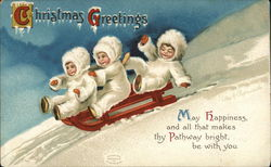 Christmas Greetings - Children Riding Sled