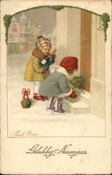 2 children placing gifts on door steps