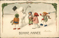 Bonne Annee - Children with Snowman