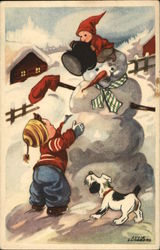 Children with Snowman and Dog