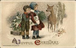 A Joyful Christmas - Two Children Looking at a Deer