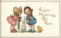 Easter Happiness Be Thine - Children with Bunny and Chick