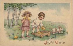 Children Collecting Chicks in a Rabbit-Pulled Wagon