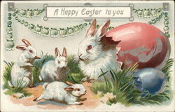 A Happy Easter to You - Bunny Sitting in Colored Egg Shell