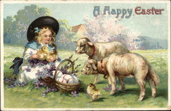 Girl with Lambs, Chicks and Easter Eggs in Basket