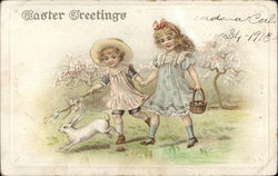 Easter Greetings: Two Girls Run After A Rabbit