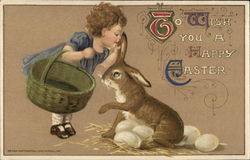 To Wish You a Happy Easter - Child Whispering in Bunny's Ear