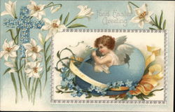 Hatching Angel with Lilies and Forget-Me-Not Cross