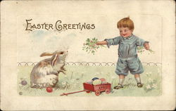 Easter Greetings - Child with Bunny
