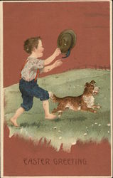 Boy with Hat and Dog