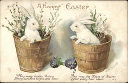 Two White Bunnies in Two Baskets with Flowers