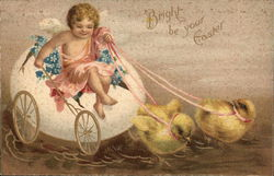 Angel Riding Egg Pulled by Chicks