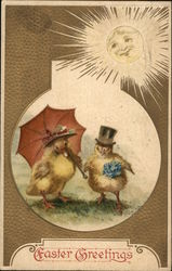 Easter Greetings - Easter Chicks Wearing Hats and Umbrella