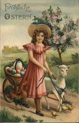 Girl with Lamb Pulling Wagon Full of Easter Eggs