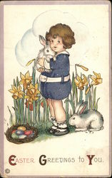 Easter Greetings to You - Girl Holding Bunny in Daffodils